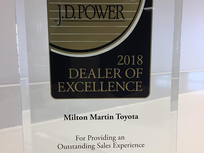 Milton Martin Toyota 2018 Dealer of Excellence Award