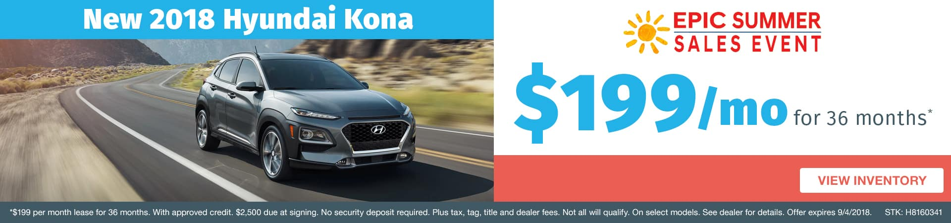 Drive home a new 2018 Hyundai Kona for just $199 a month in Murfreesboro TN