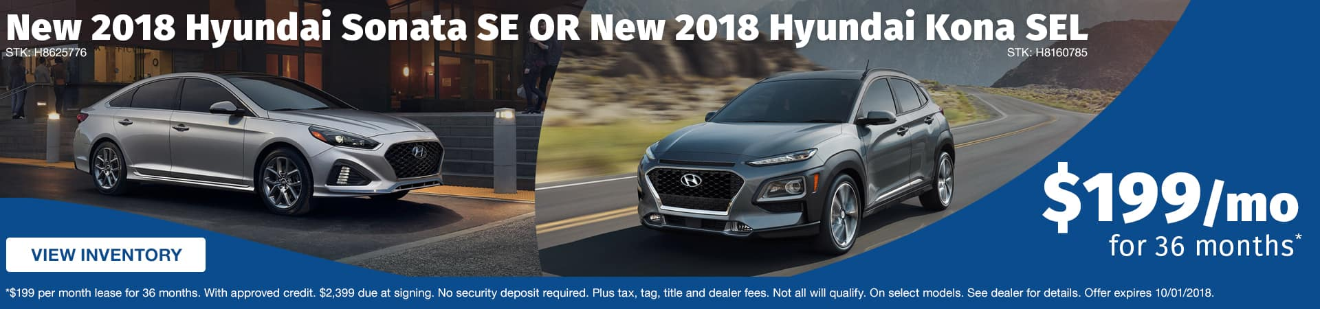 Drive a new 2018 Hyundai Sonata SE or Kona SEL for just $199 a month in Murfreesboro TN