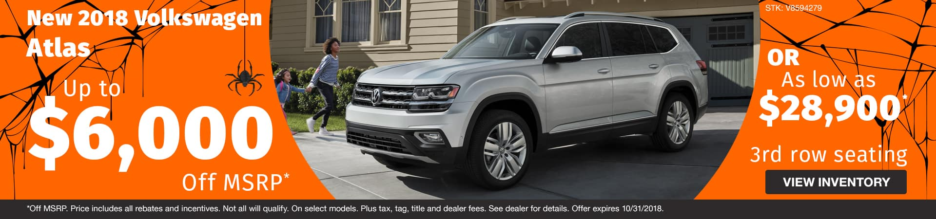 Save up to $6,000 off or buy for as low as $28,900 a new 2018 Volkswagen Atlas model in Murfreesboro TN