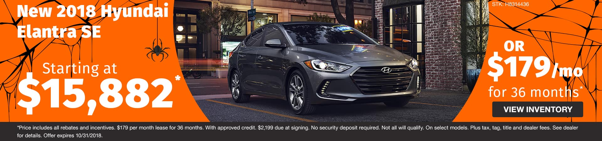 New 2018 Hyundai Elantra SE starting at $15,882 or drive for just $179 a month in Murfreesboro TN