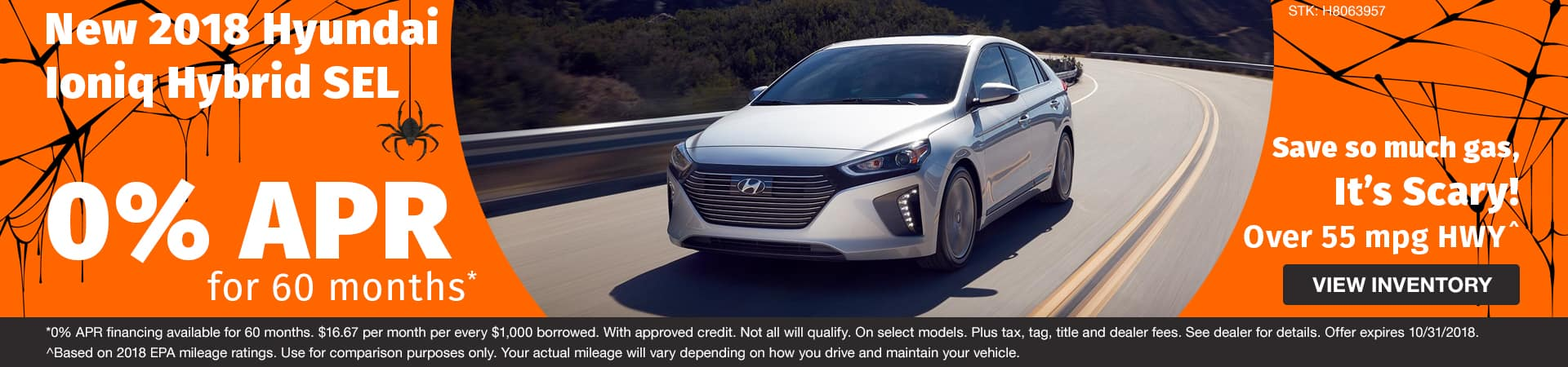 Get 0% APR on a New 2018 Hyundai Ioniq Hybrid SEL in Murfreesboro TN