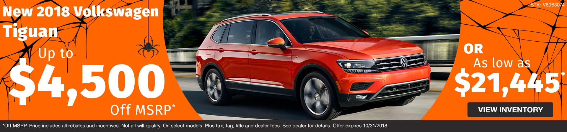 Drive home a new 2018 Volkswagen Tiguan starting at just $21,445 or up to $4,500 off MSRP in Murfreesboro TN