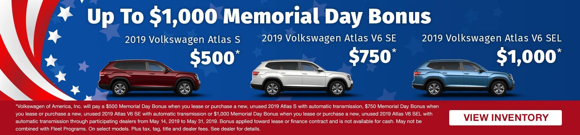 Get up to a $1,000 Memorial Day Bonus on a new 2019 Volkswagen Atlas in Murfreesboro TN