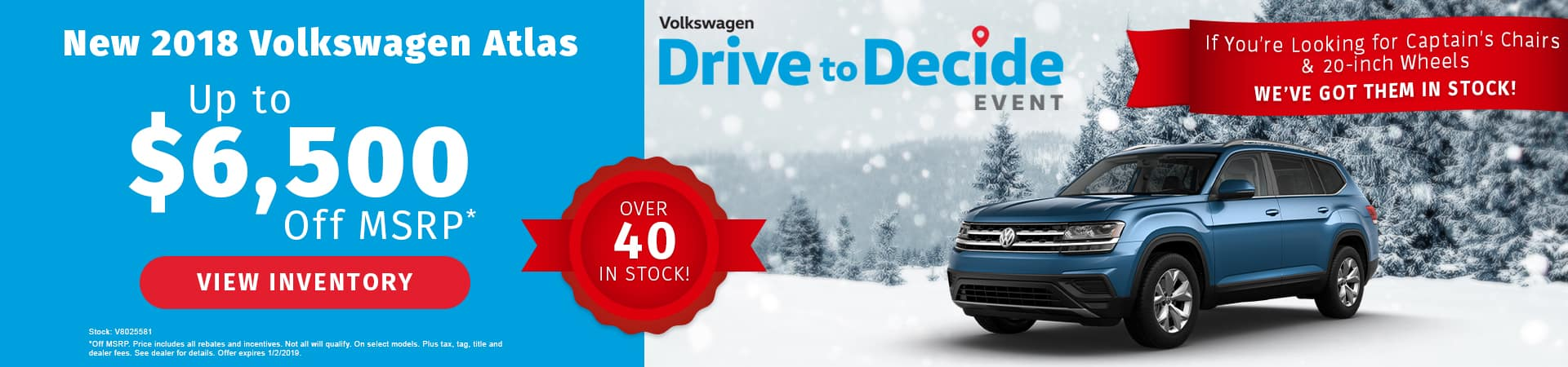 Save up to $6,500 off a new 2018 Volkswagen Atlas in Murfreesboro TN