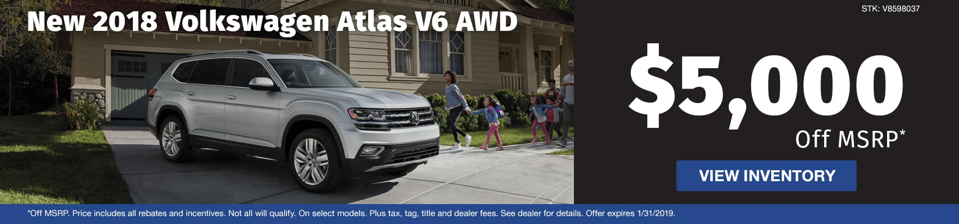 Save $5,000 off a new 2018 Volkswagen Atlas V6 with AWD in Murfreesboro TN