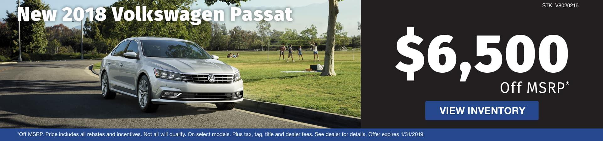 Save $6,500 off a new 2018 Volkswagen Passat model in Murfreesboro TN
