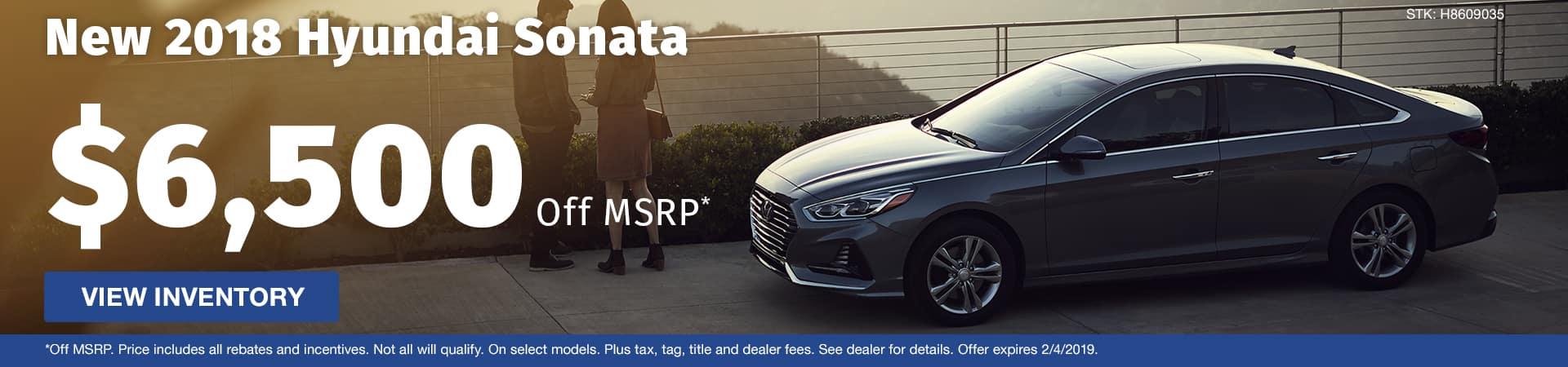 Save $6,500 off a new 2018 Hyundai Sonata in Murfreesboro TN