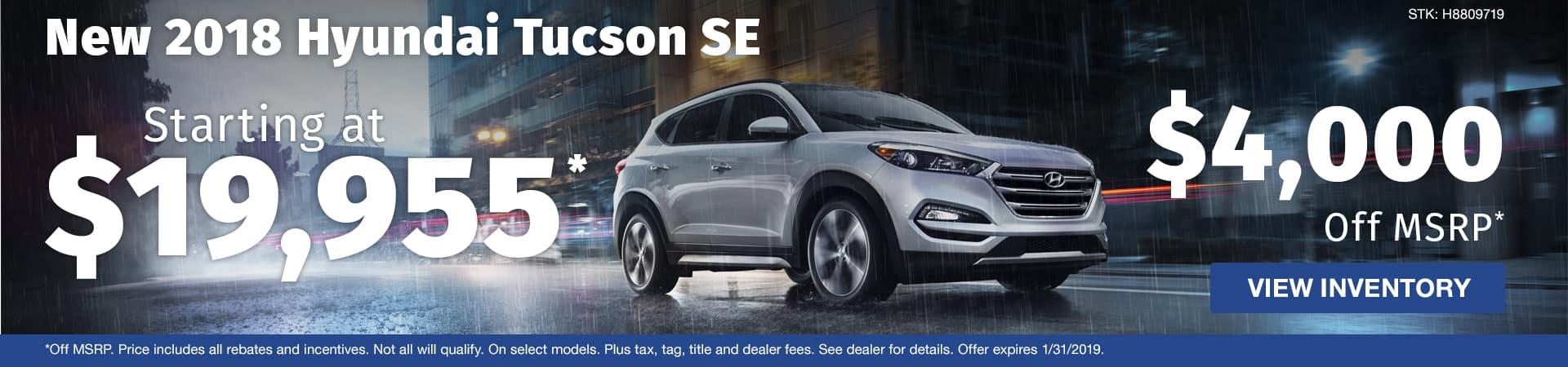 Save $4,000 off a new 2018 Hyundai Tucson SE in Murfreesboro TN