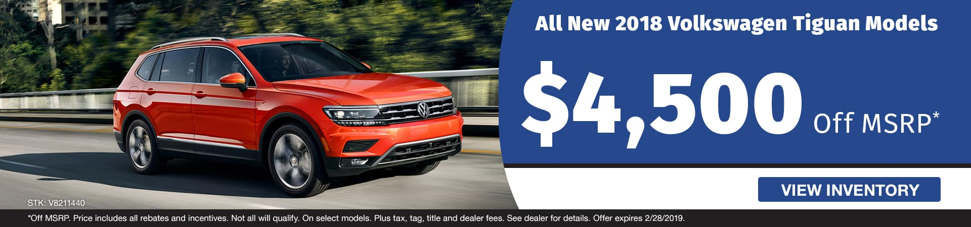 Save $4,500 off a new 2018 Volkswagen Tiguan model in Murfreesboro TN