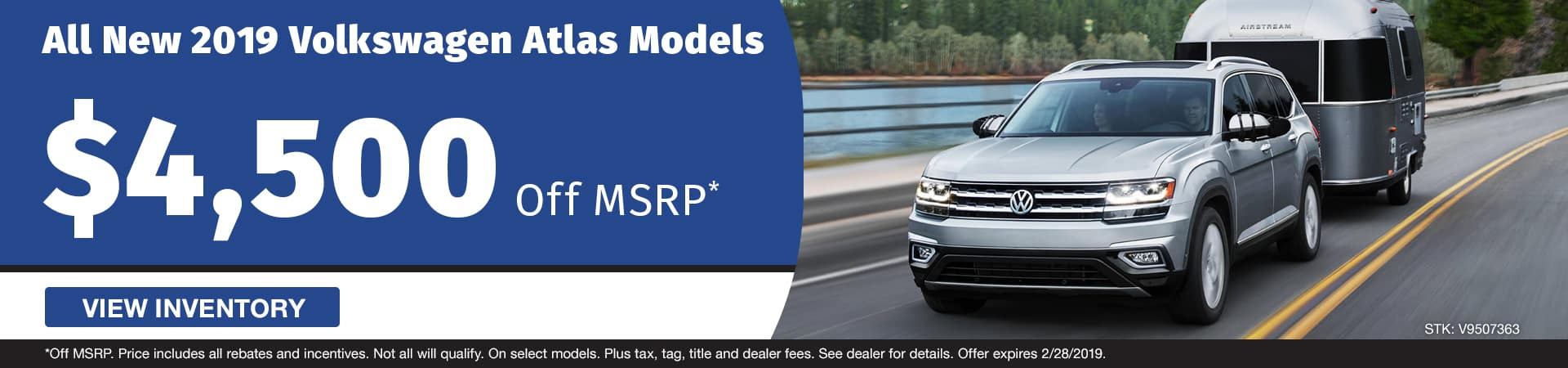 Save $4,500 off a new 2019 Volkswagen Atlas model in Murfreesboro TN