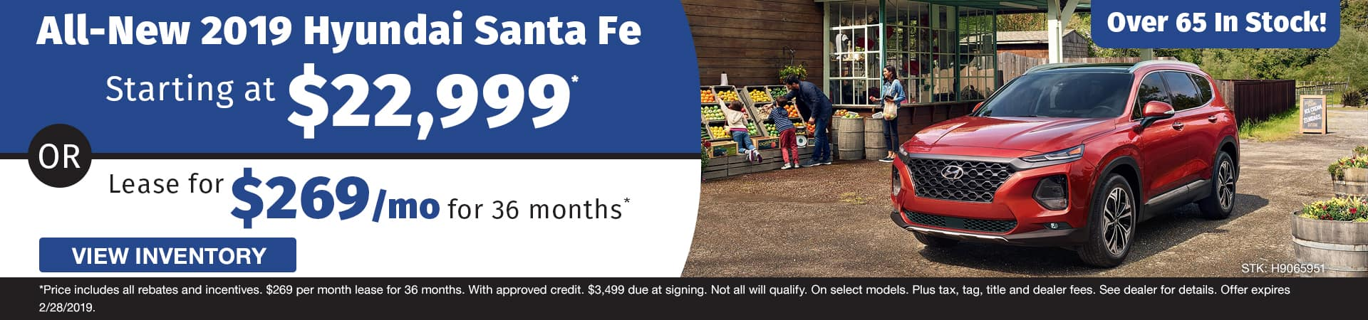 New 2019 Hyundai Santa Fe models starting at $22,999 or lease for $269 a month in Murfreesboro TN