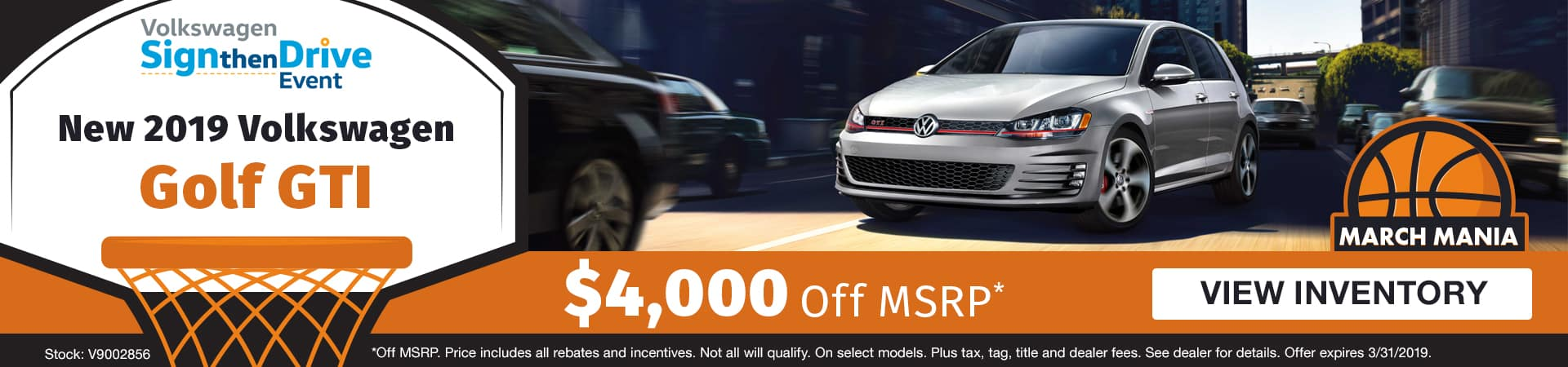 Save $4,000 off a new 2019 Volkswagen Golf GTI model in Murfreesboro TN