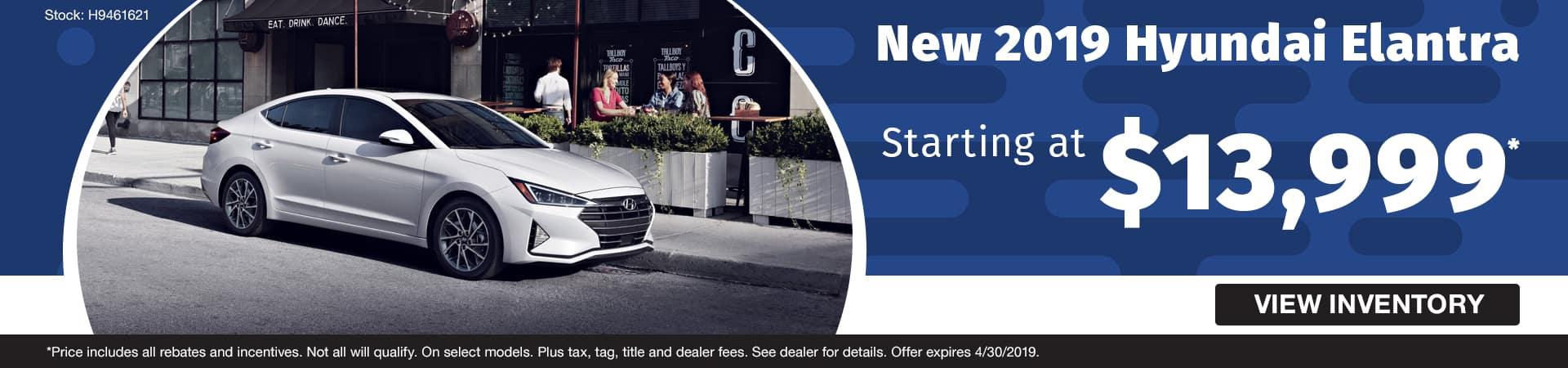 Drive a new 2019 Hyundai Elantra starting at just $13,999 in Murfreesboro TN
