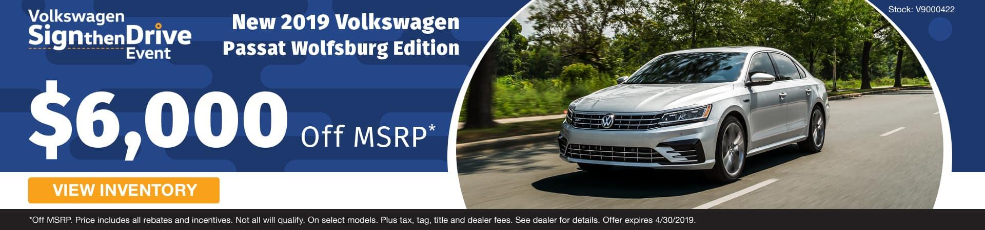 Save $6,000 on a new 2019 Volkswagen Passat Wolfsburg Edition in Murfreesboro TN
