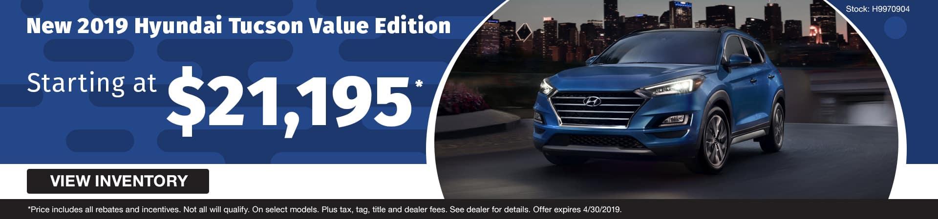 Drive a new 2019 Hyundai Tucson Value Edition starting at just $21,195 in Murfreesboro TN