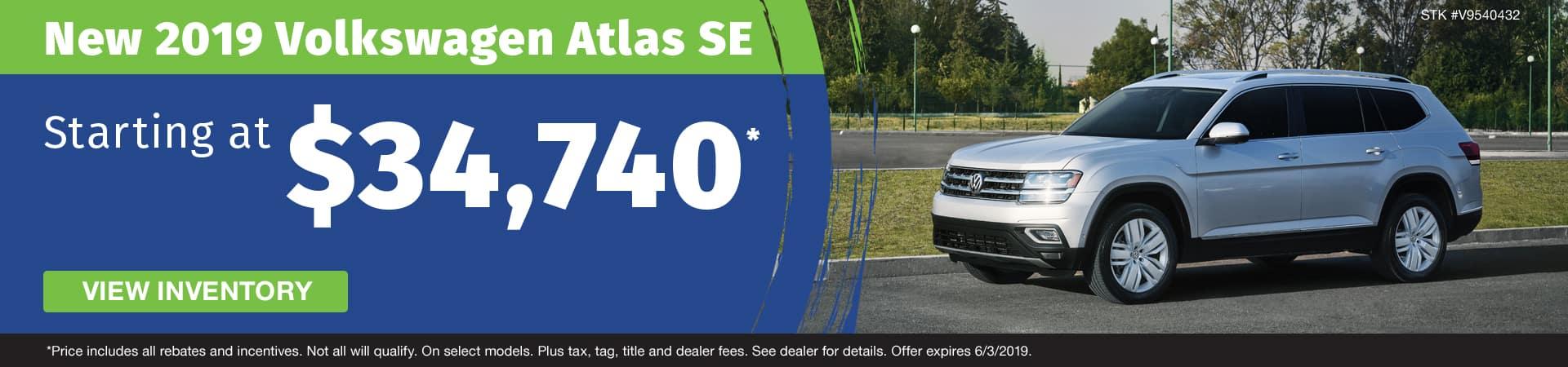Get a new 2019 VW Atlas SE starting at $34,740 in Murfreesboro TN