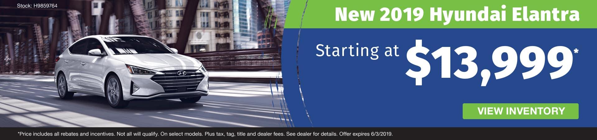 Get a new 2019 Hyundai Elantra starting at $13,999 in Murfreesboro TN