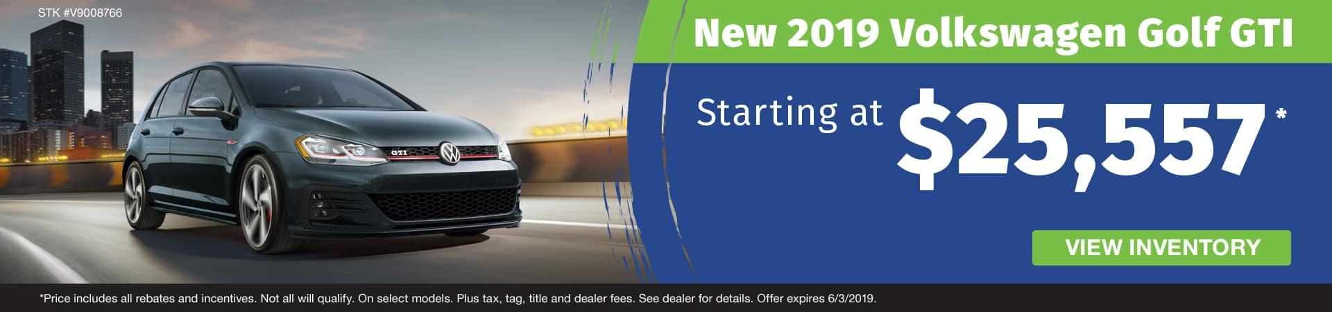 Get a new 2019 VW Golf GTI starting at $25,557 in Murfreesboro TN
