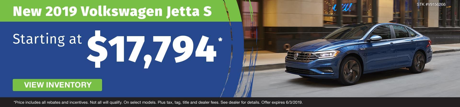 Get a new 2019 VW Jetta S starting at $17,794 in Murfreesboro TN