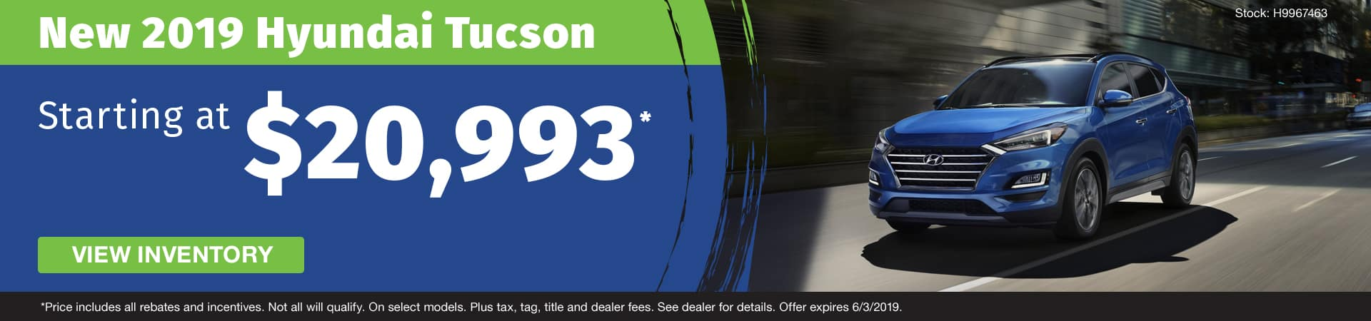 Get a new 2019 Hyundai Tucson starting at $20,993 in Murfreesboro TN
