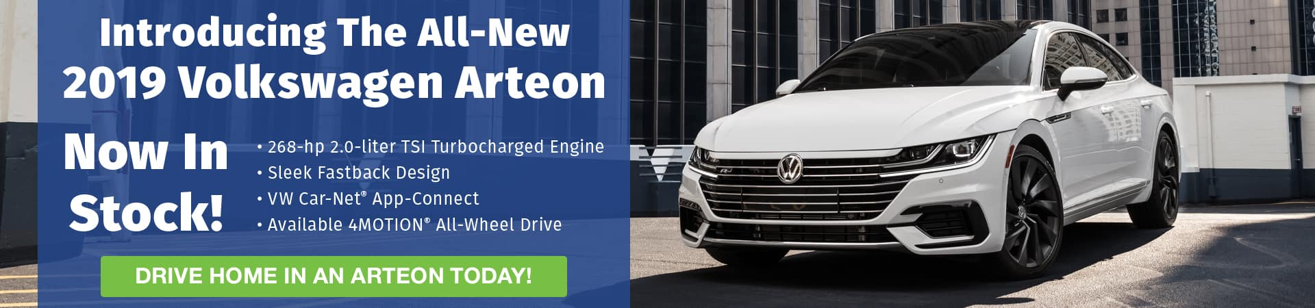 Check out the all-new 2019 Volkswagen Arteon, now in stock in Murfreesboro TN