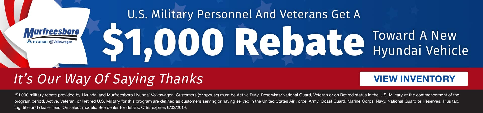 U.S. military personnel and veterans get a $1,000 rebate toward a new Hyundai in Murfreesboro TN