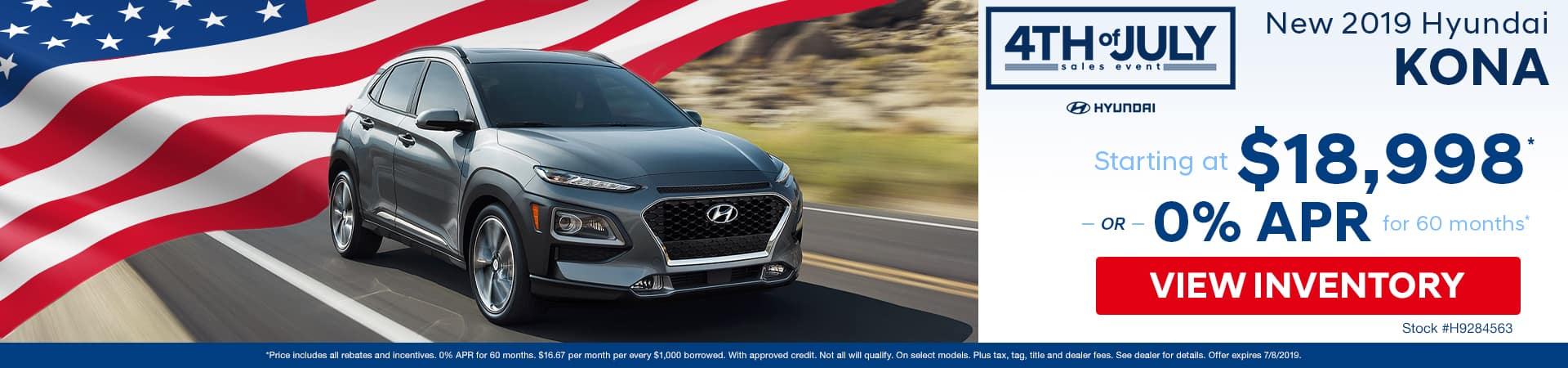 Get a new 2019 Hyundai Kona for just $18,998 or 0% APR in Murfreesboro TN