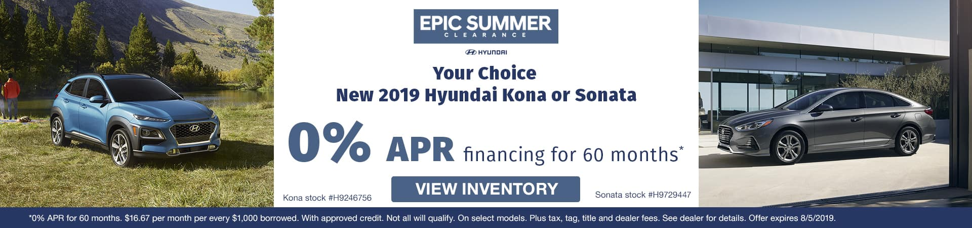 Get 0% APR on a new 2019 Hyundai Kona or Sonata in Murfreesboro TN