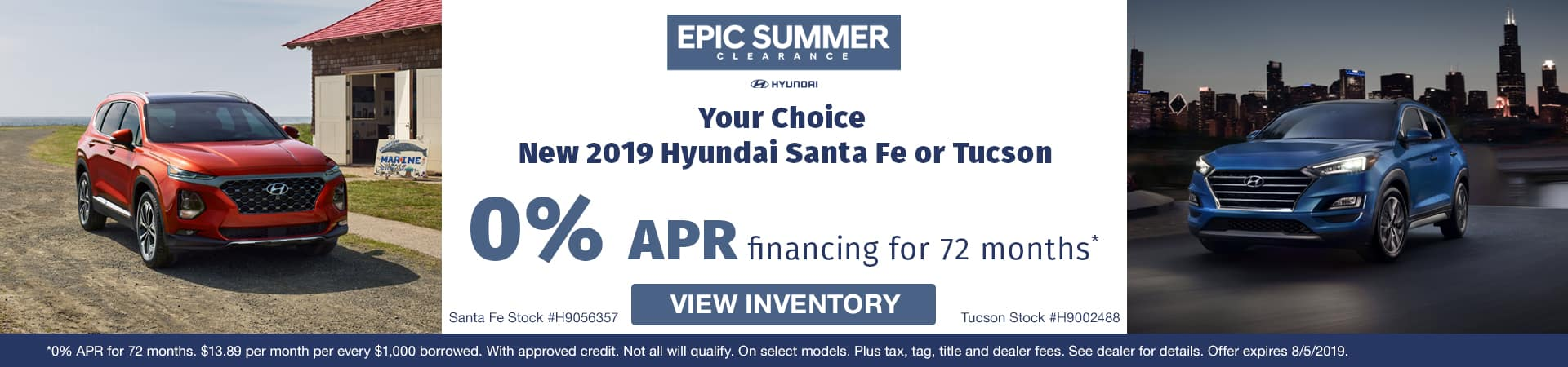Get 0% APR on a new 2019 Hyundai Santa Fe or Tuscon in Murfreesboro TN