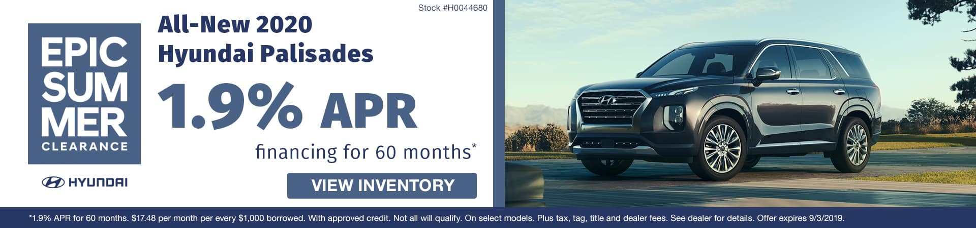 Get 1.9% APR financing on an all-new 2020 Hyundai Palisade in Murfreesboro TN
