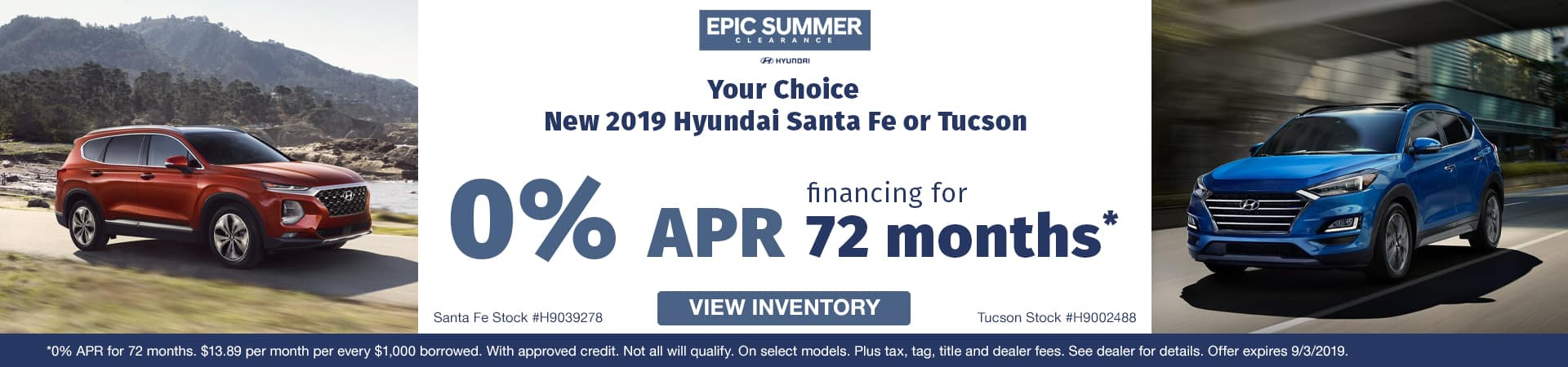 Get 0% APR financing on a new 2019 Hyundai Santa Fe or Tucson in Murfreesboro TN  VW OFFERS