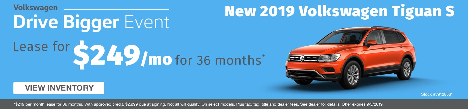 Lease a new 2019 Volkswagen Tiguan for just $249 a month in Murfreesboro TN