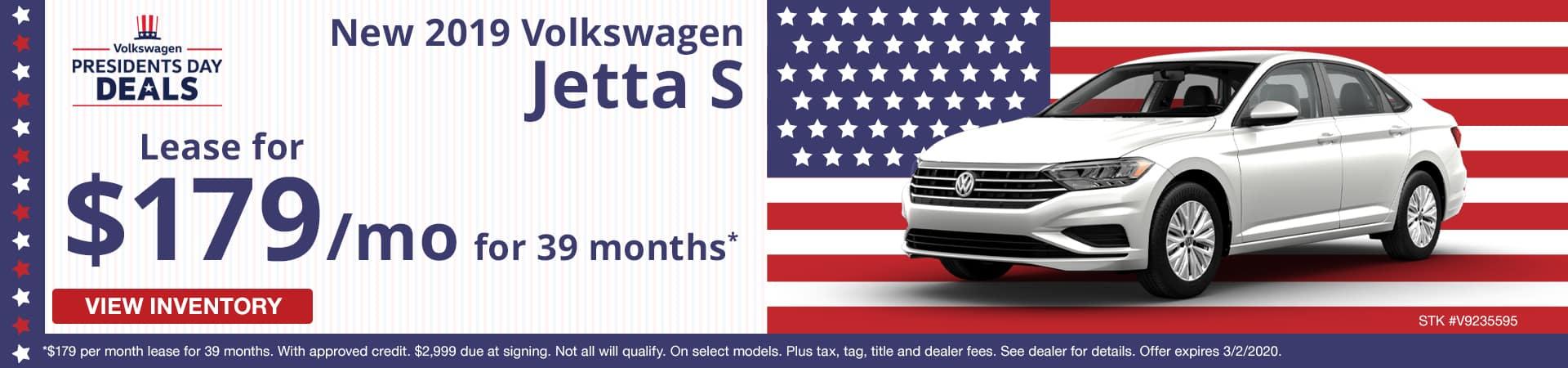 Lease a new 2019 Volkswagen Jetta S for $179 a month in Murfreesboro TN