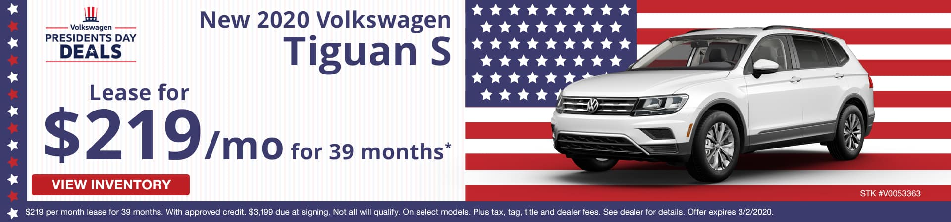 Lease a new 2020 Volkswagen Tiguan S for $219 a month in Murfreesboro TN