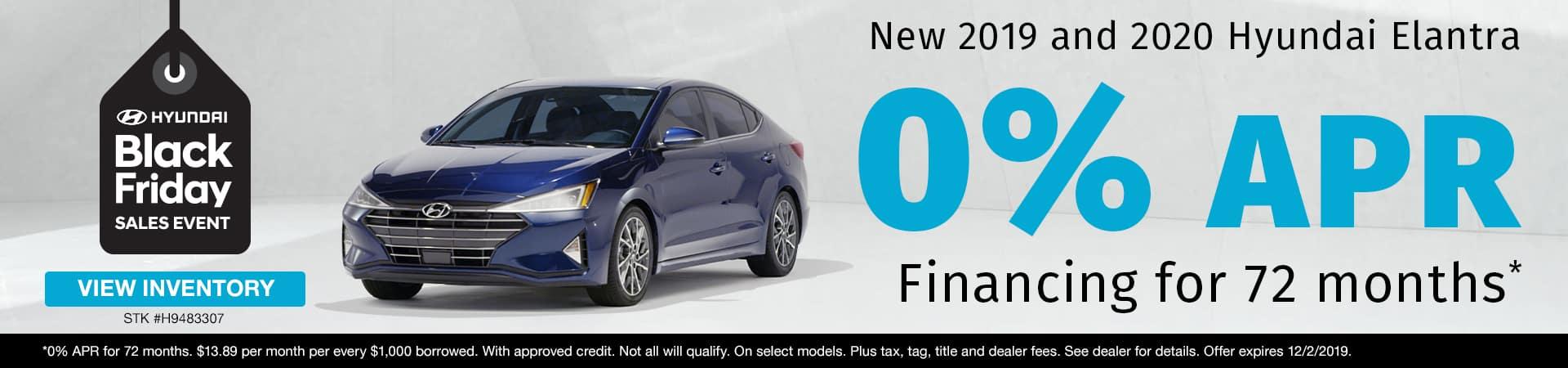 Get 0% APR Financing on new 2019 or 2020 Hyundai Elantra models in Murfreesboro TN