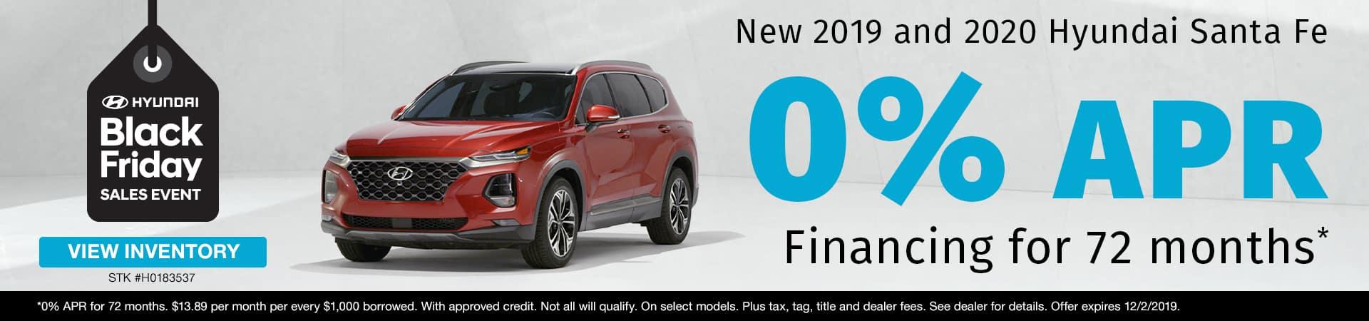 Get 0% APR Financing on new 2019 or 2020 Hyundai Santa Fe models in Murfreesboro TN