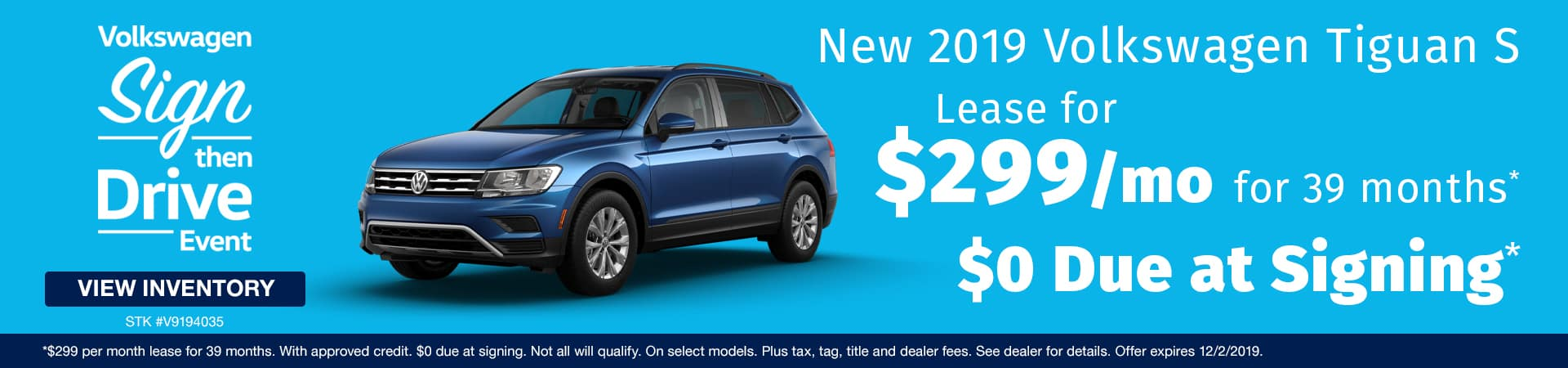 Lease a new 2019 VW Tiguan for just $299 a month in Murfreesboro TN