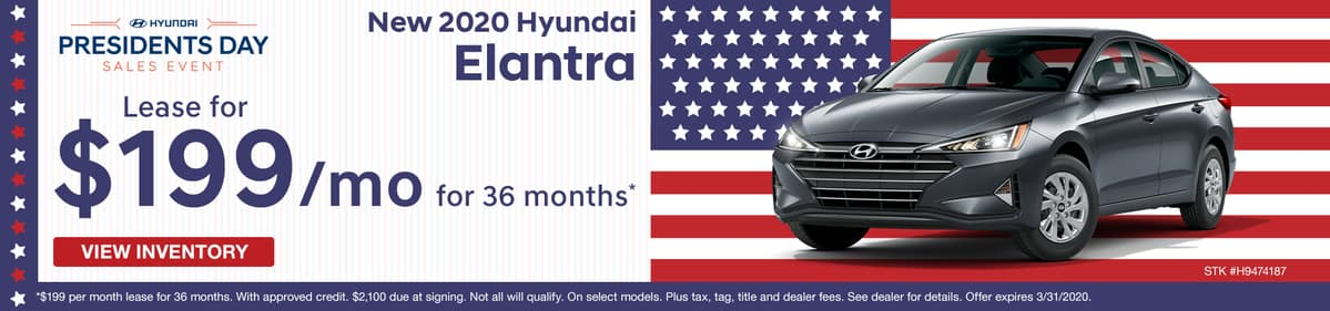 Lease a new 2020 Hyundai Elantra for just $199 a month in Murfreesboro TN