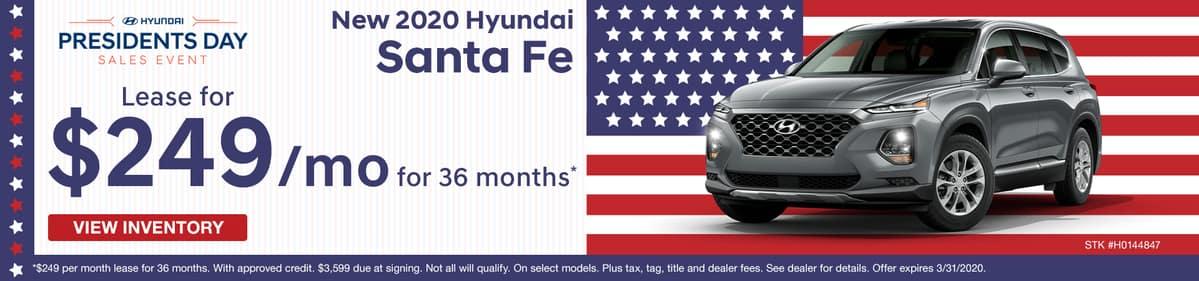 Lease a new 2020 Hyundai Santa Fe for just $249 a month in Murfreesboro TN