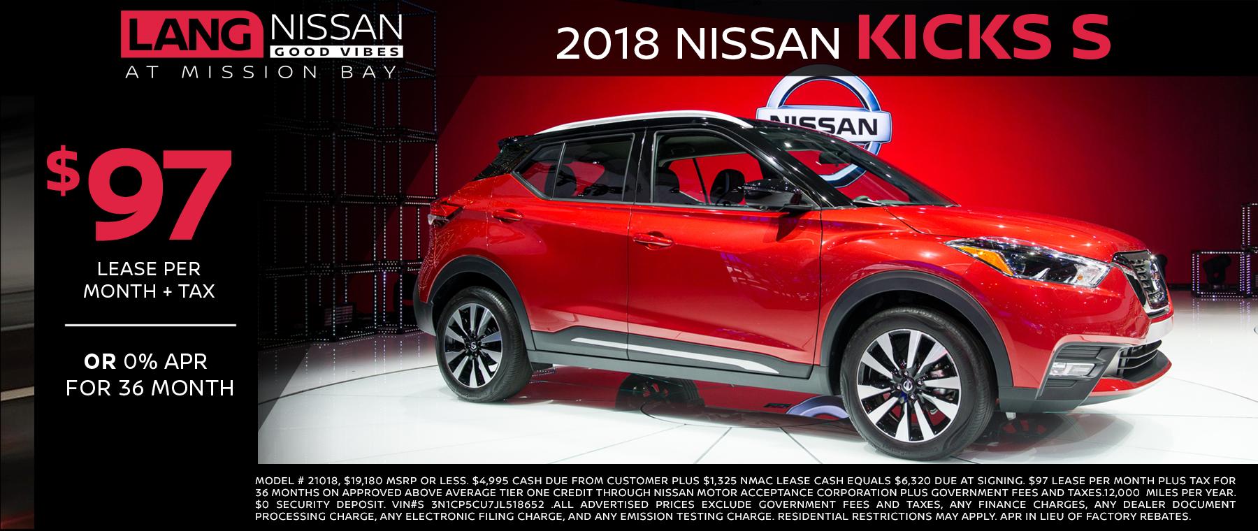 2018 Nissan Kicks Lease