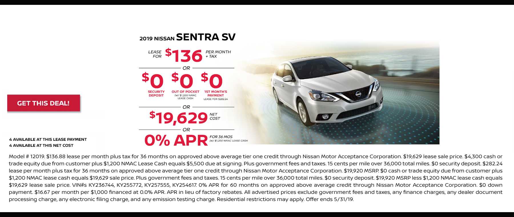 sentra lease may 2019