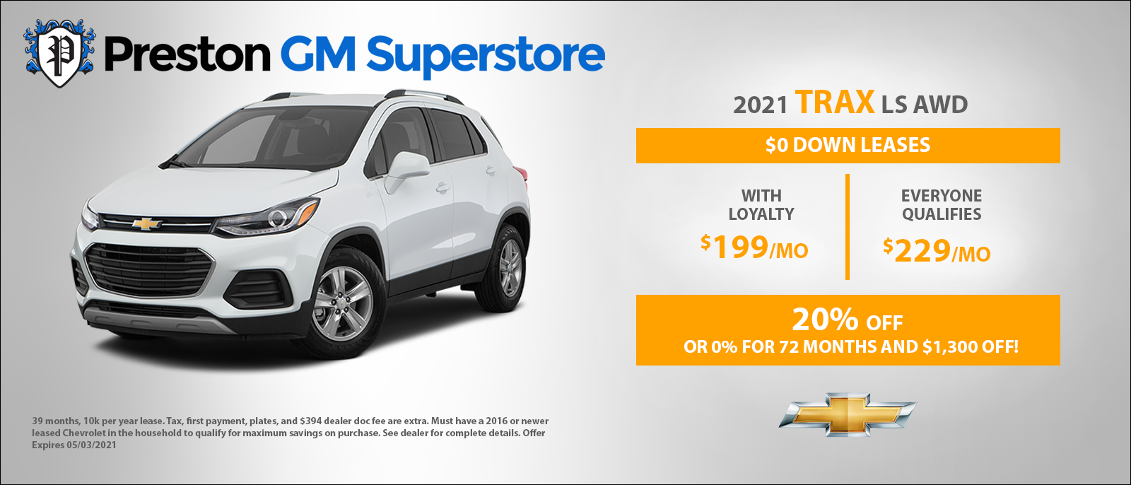 Preston GM Banner Chevy Trax