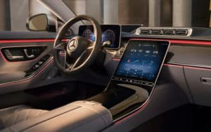Interior view of the 2021 S-class sedan driver side dashboard