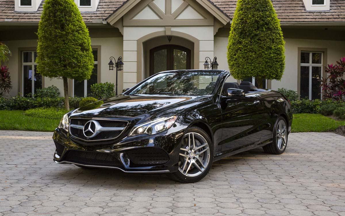 E-Class cabriolet in driveway