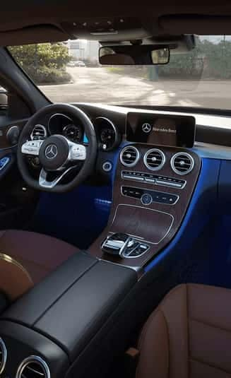 blue mercedes-benz interior