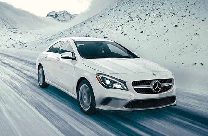 2018 Mercedes-Benz CLA White on snowy road