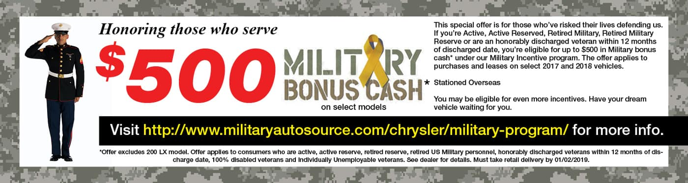 military discount promotional banner