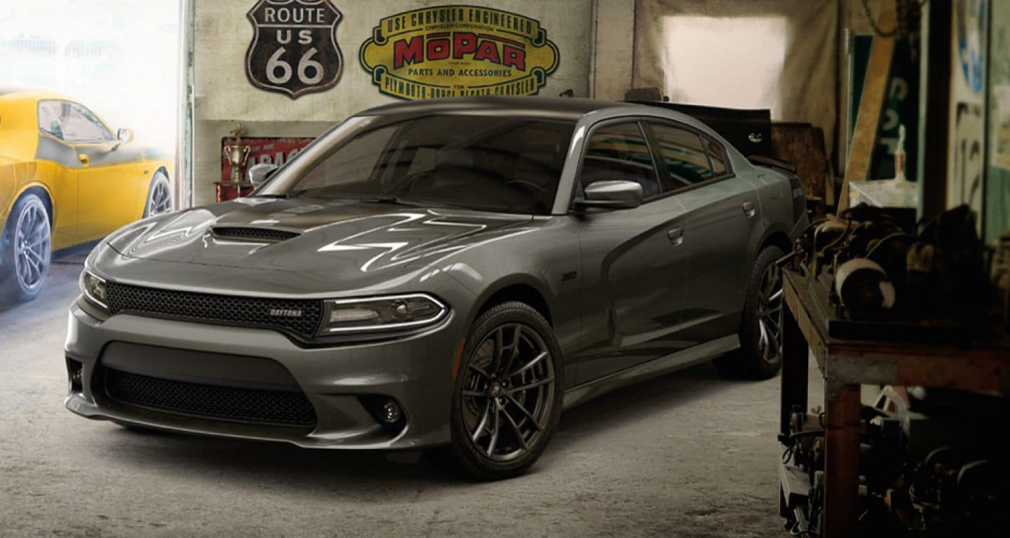 a 2018 dodge charger srt parked in a garage