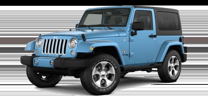 A blue Jeep Wrangler JK